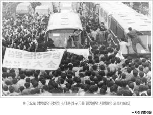 미국으로 망명했던 정치인 김대중의 귀국