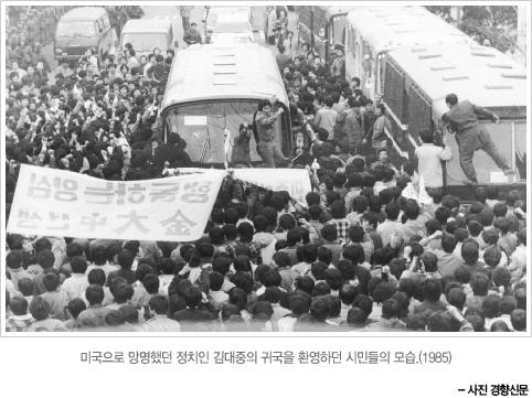 미국으로 망명했던 정치인 김대중의 귀국 사진